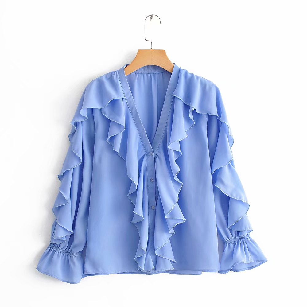 BBWM WOMAN Za Sweet Blue Ruffled Chiffon   Blouse   Elegant Women V-Neck Long Sleeve Cute Girls Fashion   Shirt   Tops Blusas Mujer