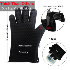 Image 3 - WALFOS 1 piece food grade Heat Resistant Silicone Kitchen barbecue oven glove Cooking BBQ Grill Glove Oven Mitt Baking glove