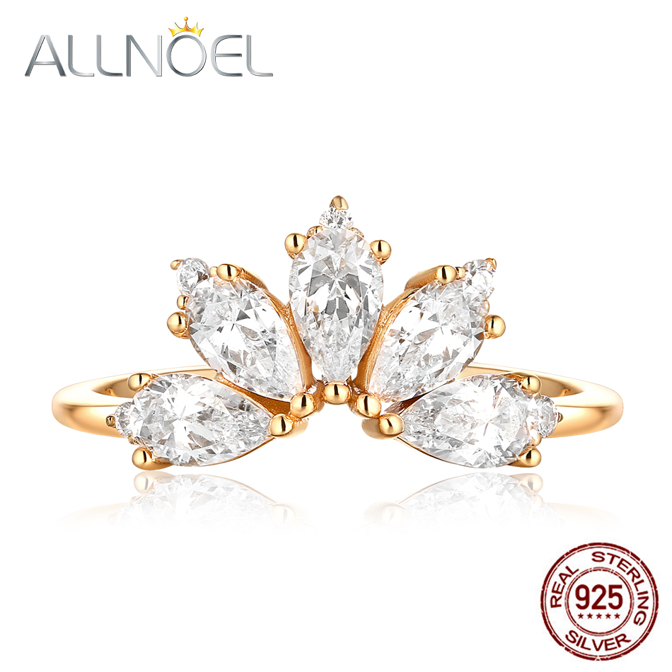 ALLNOEL 2019 Real 925 Sterling Silver Ring For Women Adjustable Fine Jewelries Gemstone Zircon Diamonds 14K Gold Engagement GiftALLNOEL 2019 Real 925 Sterling Silver Ring For Women Adjustable Fine Jewelries Gemstone Zircon Diamonds 14K Gold Engagement Gift