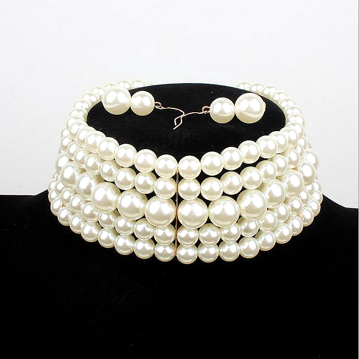 Fashion multilayer chain imitation pearl choker necklace women wedding jewelry bridal Bridesmaid bijoux banquet party collar
