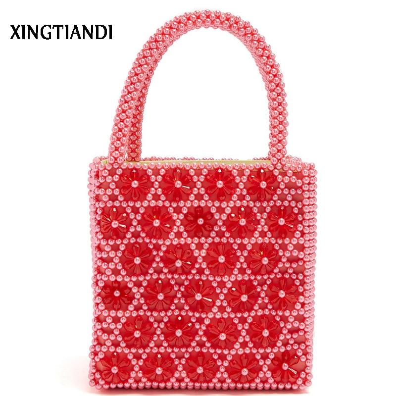 Vintage Women Handmade Beaded Bag Female Pearl Bag Handbag Crystal Flowers Lady Purses Sac Perle цены онлайн