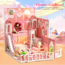 Dream Childhood Pink Doll House 3D Miniatures Dollhouse Toys Children DIY Mini Princess Wooden Furniture Kit For Girls