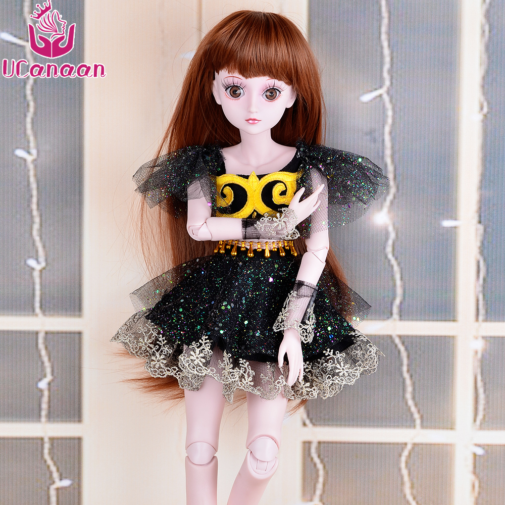 UCanaan 1/3 Large Girl BJD Doll 19 Ball Jointed SD Dolls Reborn With Wigs Eyes Dress Makeup Brinquedos Baby Alive DIY Kids Toys bjd sd doll wigs soom photon minifee chloe male female dolls black long wig 3 1 1 6 immediately shipped