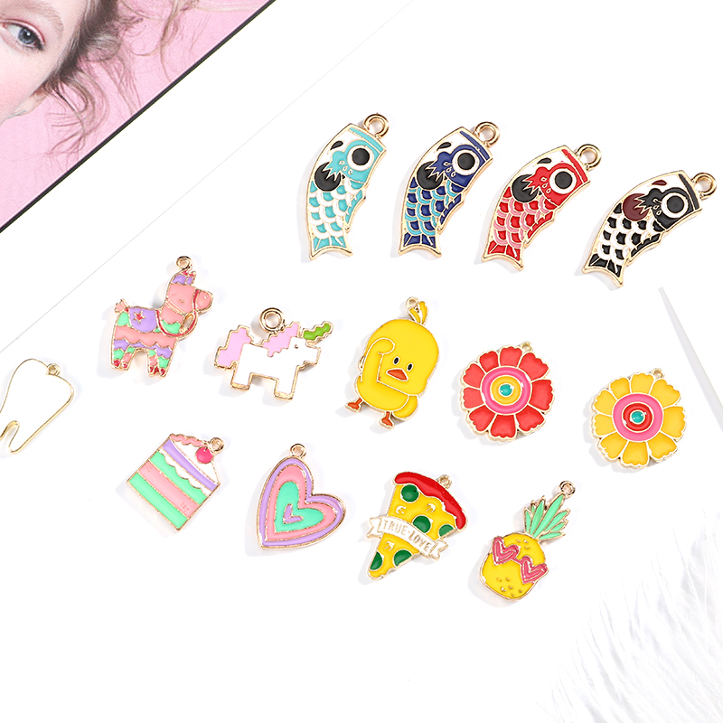 10pcs/pack Flower Pizza Cake Fish Duck Horse Enamel Charms Alloy Gold Color Bracelet Necklace Jewelry Accessories Vivid And Great In Style Jewelry Sets & More Charms