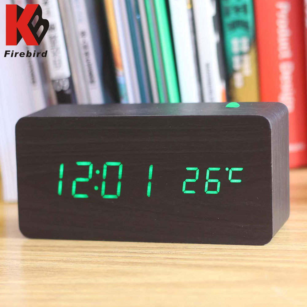 Square Wooden Green Led Nixie Clock Calendario Digital Electronic Alarm For Home Decor Desk Horloge Kid Gift In Clocks From
