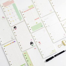 A6 loose leaf 6 hole inner core color cartoon hand ledger day plan notes this month plan notepad inside page 8 styles notebooks marble hand book partition page loose leaf index page hand book title page inside page planner a6 filler papers