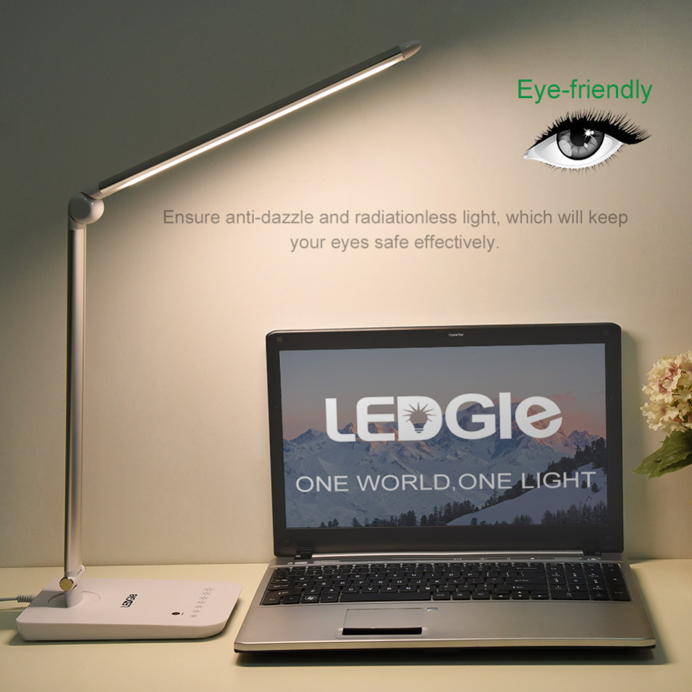 LEDGLE High quality Foldable Desk Lamps High quality Rechargeable Table Light Office Reading Touch Dimmer Lamps LED Light Table new arrival t10 led panel desk table light lamp 7w 12v desk lamps reading light sliding touch dimmer desk night light lamps hr