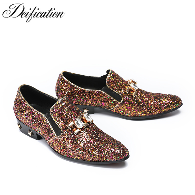 Deification Luxury Bling Sequins Mens Loafers 2019 Moccasins Hombre Slip-On Casual Male Flats Fashion Mens Party Wedding Shoes
