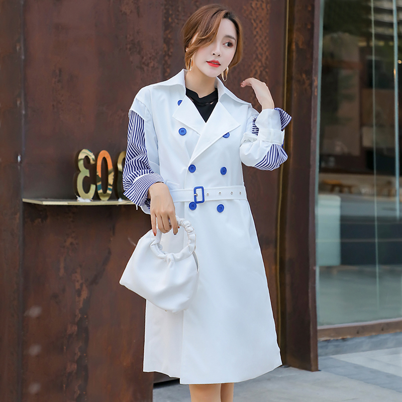 Retro coat female 2019 spring lady overcoat splice stripe shirt sleeve personality windbreaker coat women's loose   trench   coats