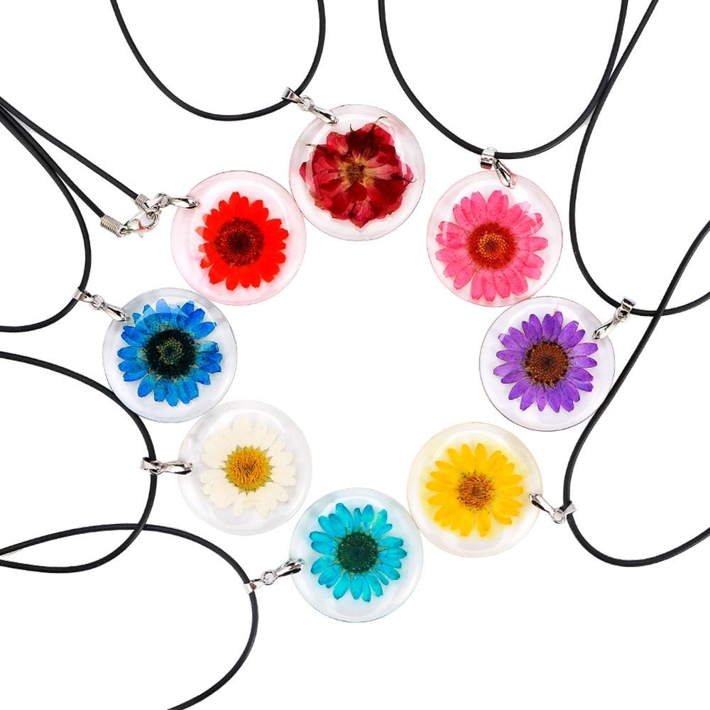 Fashion Handmade Bohemian Transparent Ball Shape Resin Dry Flower Daisy Pendant Necklace Women's Wild Jewelry