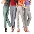 2017 novo Lençóis de Algodão Ocasional das mulheres de meia idade nove Calças Mãe Cintura alta Elástico Fino calças retas plus size G259