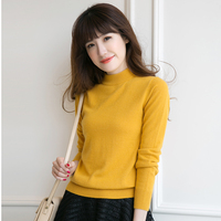 Women Cashmere Wool Knit Sweaters Casual Half Turtleneck Long Sleeve Sweater Warm Winter Female Slim Soft