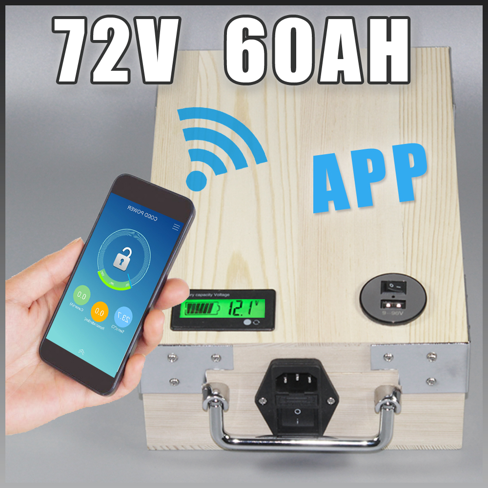 72V 60Ah Golf Car Battery Pack Electric scooter E bike Lithium Battery With APP Bluetooth GPS control , 5V USB Port