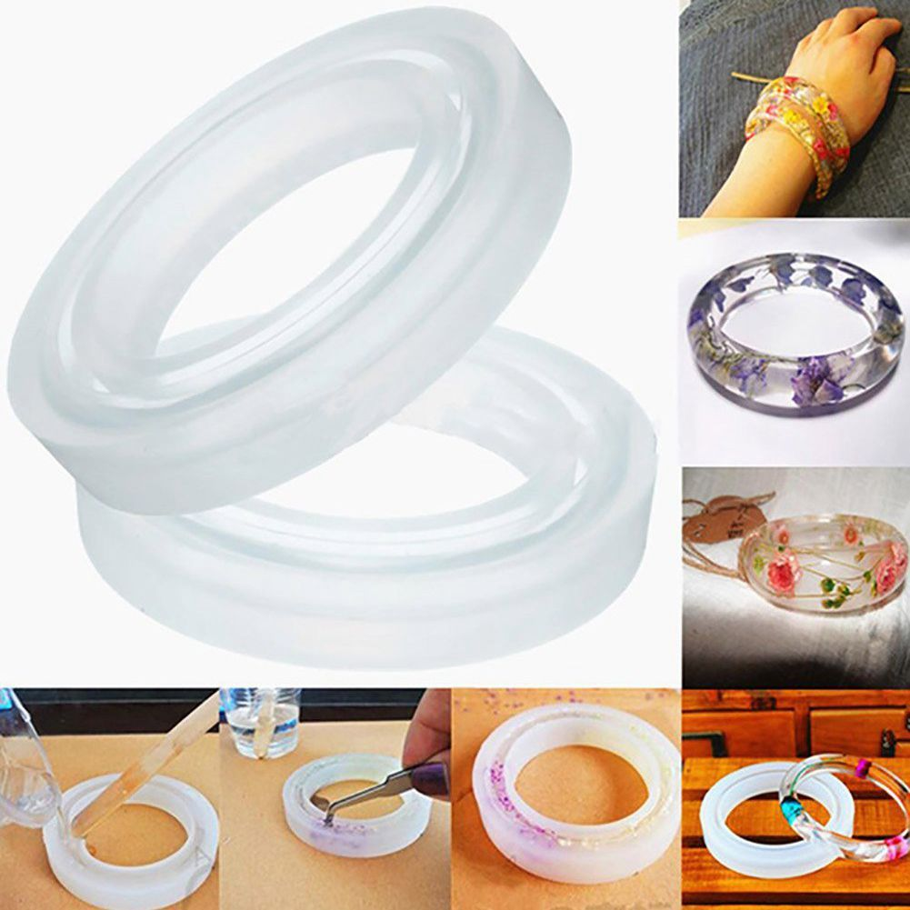 4PCS Silicone Mould Mold Round For Curve Bangle Bracelet Jewelry Making DIY
