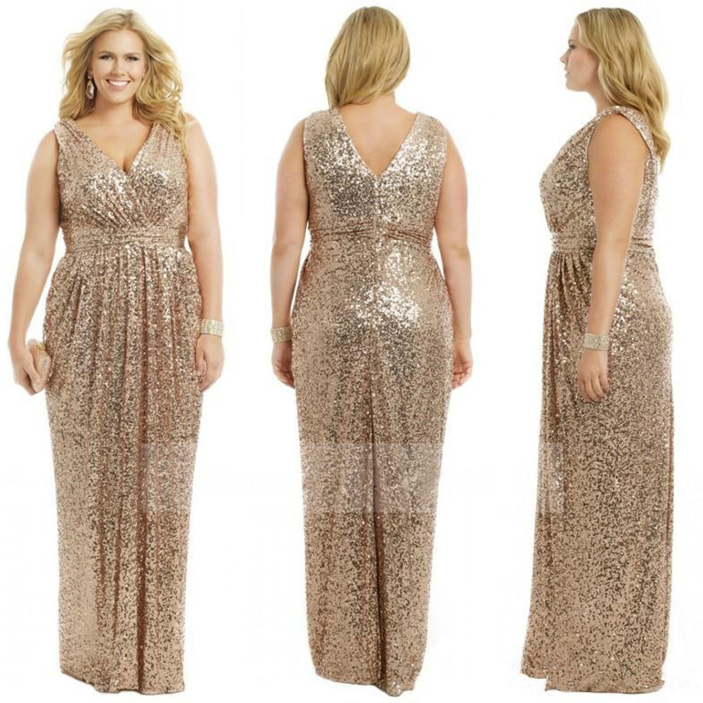 Sexy V Neck Sequin Long Bridesmaid Dresses 2017 Champagne Rose Gold ...