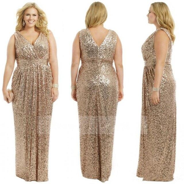 b6ad05db4d5 Sexy V Neck Sequin Long Bridesmaid Dresses 2017 Champagne Rose Gold  Bridesmaid Dress vestido madrinha