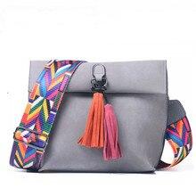 DVIA Brand Women Messenger Bag Crossbody Bag tassel Shoulder Bags Female Designer Handbags Women bags with colorful strap недорго, оригинальная цена