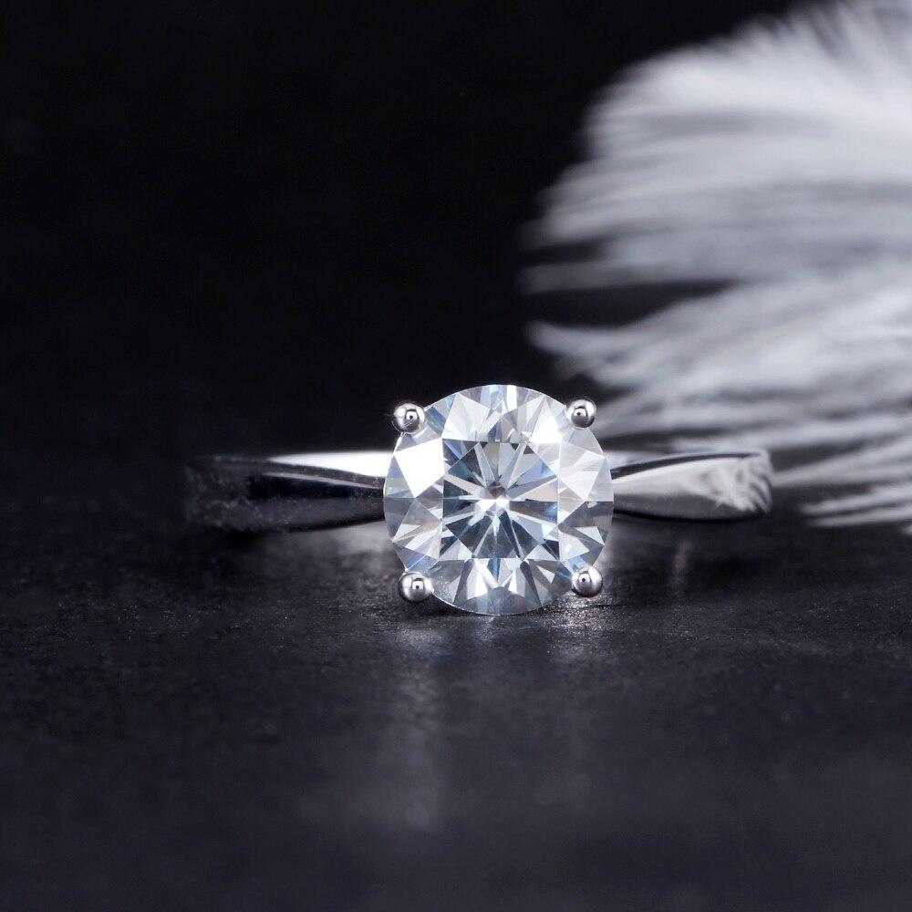 Takı ve Aksesuarları'ten Halkalar'de DovEggs Hafif Gri 2ct 8mm Moissanite Nişan Yüzüğü Kalın Ayar 925 Gümüş Klasik Alyans Kadınlar Için'da  Grup 2