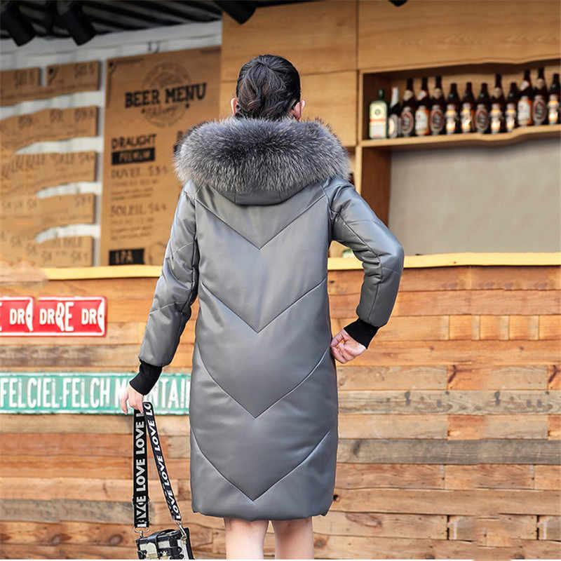 Otoño mujer Abrigos abrigos largo piel de oveja Parkas 2019 nuevo tamaño grande piel de zorro cuello cálido invierno mujer chaqueta de cuero abajo 05