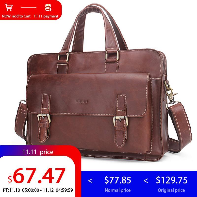 CONTACT'S Genuine Leather Men Bag business Handbag briefcase men shoulder Messenger bag casual laptop bag designer high quality все цены