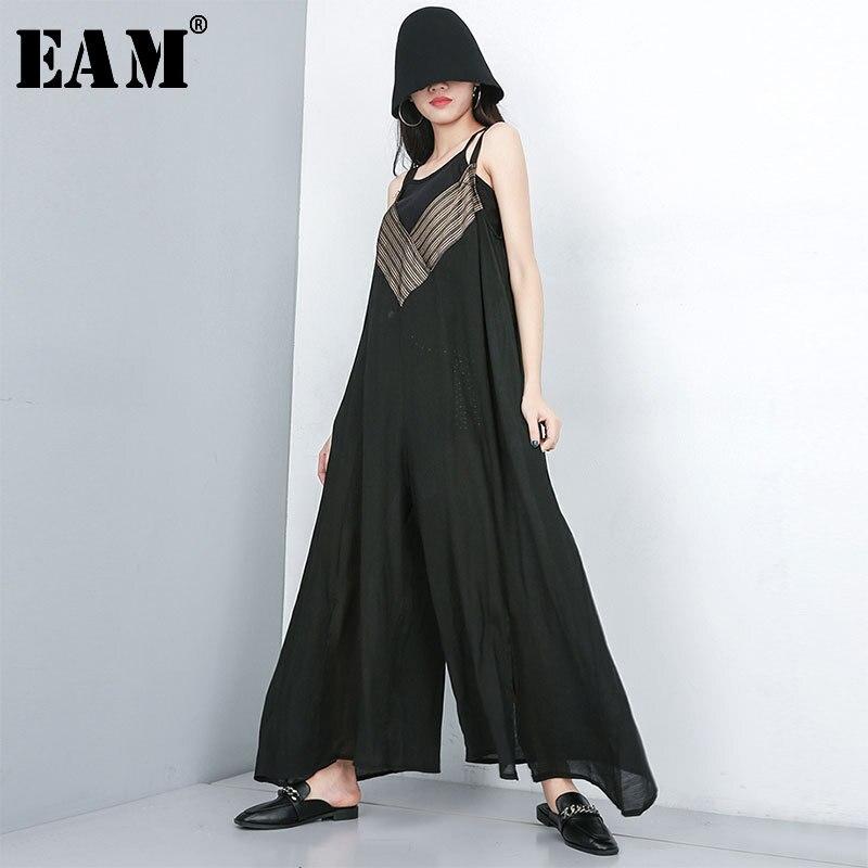 [EAM] 2019 New Autumn Winter High Waist Striped Split Joint Loose Long Vent Wide Leg Pants Women Jumpsuit  Fashion Tide JT172