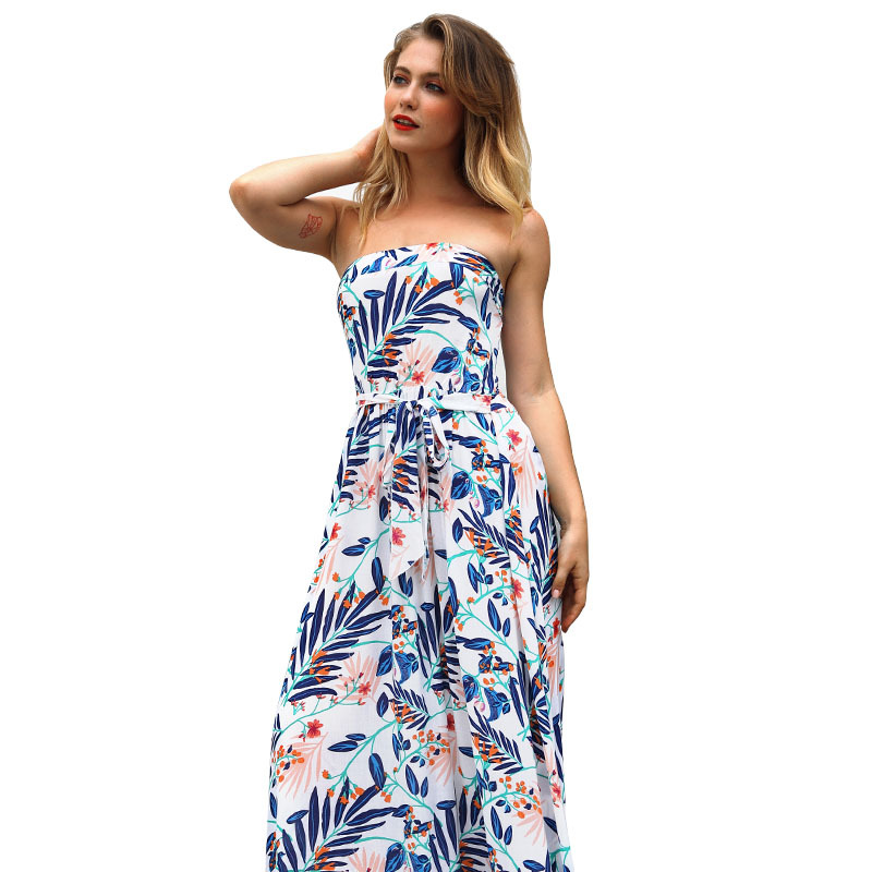 Yovamoo 2018 New Vintage Woman Slim Floral Print Sexy Long Dresses Summer Off The Shoulder Strapless Wrap Dress Women in Dresses from Women 39 s Clothing