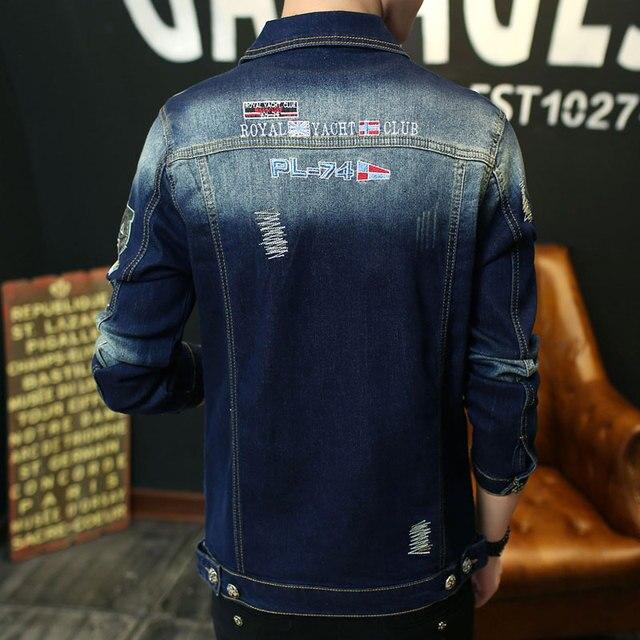 TIGER KNIFE 2017 Motorcycle Denim Jacket Stripes Patchwork M-XXXL  Embroidered Punk Rock Washed Mens