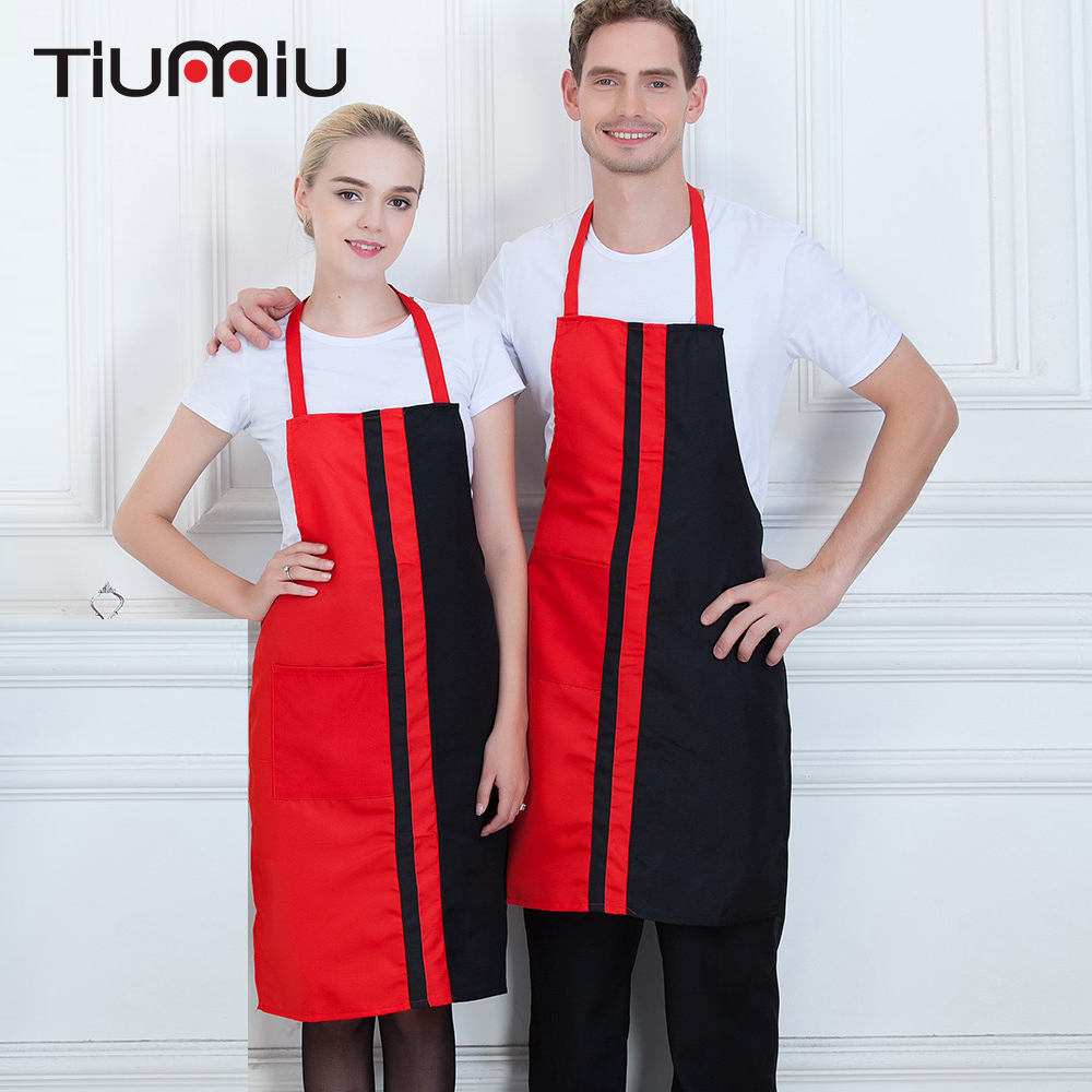 New Patchwork Chef Apron High Quality Wholesale Women Men Kitchen Hotel Coffee Shop Bakery Chef Waiter Cleaning Work Wear Aprons