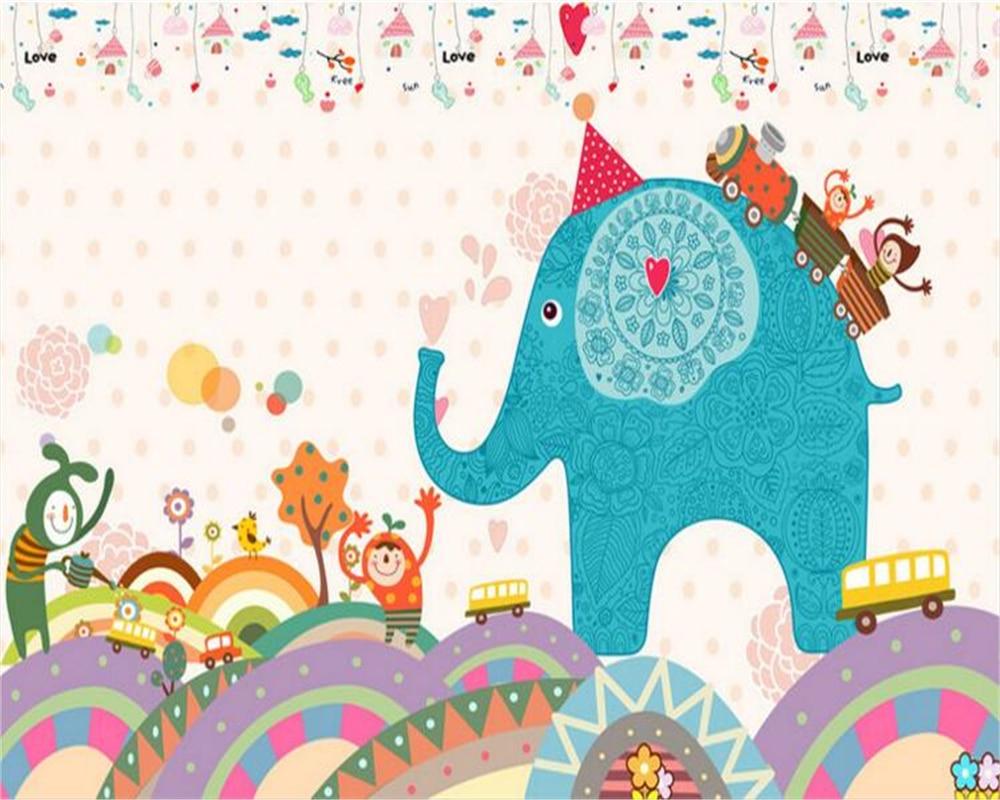 Beibehang 3d Cute Children Cartoon Cartoon HD Elephant Wallpaper
