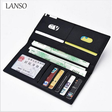 New Men's Wallet Long Soft Pu Leather Cross-Pattern Ultra-thin Money Clips Men Money Wallets High Quality Men's Business Wallet