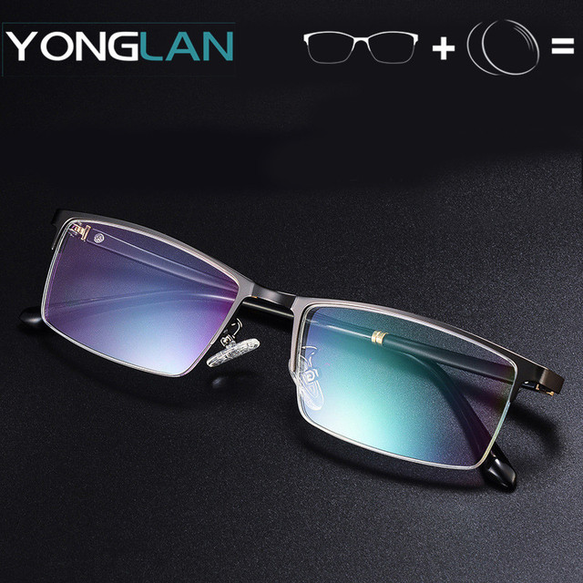 5175173a338 Yong Lan Alloy Glasses Frame With Prescription lens Men Eyewear Assembly Customized  Myopia Optical Astigmatism Anti