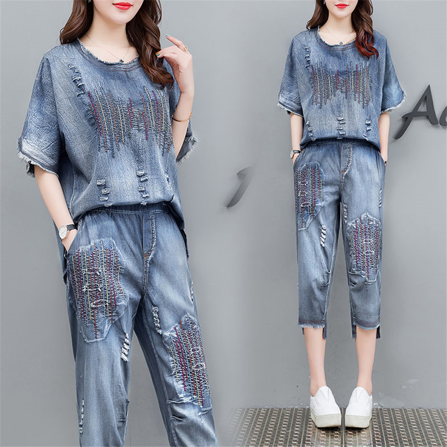 Blue Denim Suit 2 Piece Set Plus Size Women Cowboy 2019 Summer Outfits Embroidery Top And Pant Suits Loose Co-ord Sets Clothes