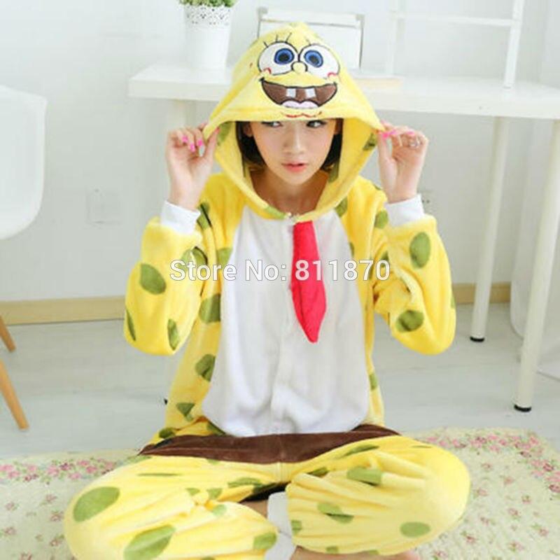 HI-Q Flannel Onesies Jumpsuits Adult Pajamas Cosplay SpongeBob Costume Cartoon Sleepwear Homewear Women's Dress