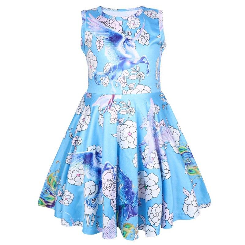 Baby Girl Clothing Summer Cartoon Unicorn Flower Print Princess Dress Kids Birthday Party Fashion Dresses