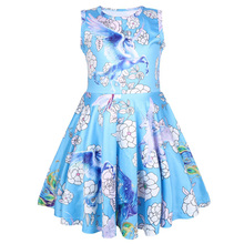 Baby Girl Clothing Summer Cartoon Unicorn Flower Print Princess Dress Kids Birthday Party Fashion Dresses