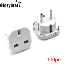 все цены на 100pcs UK To EU German Travel Power Adapter Euroepan Euro EU Germany AC Plug Adapter Outlet Electrical Power Sockets онлайн