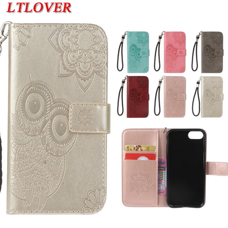 High quality owl embossed fashion Anti knock pu leather phone case For apple iphone 5S 6 6S 7 8 Plus X wallet stand Cover