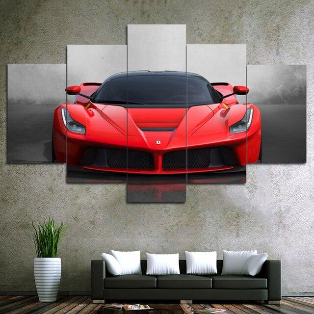 5 Stucke Leinwand Kunstdrucke Und Poster Moderne Rot Sport Auto