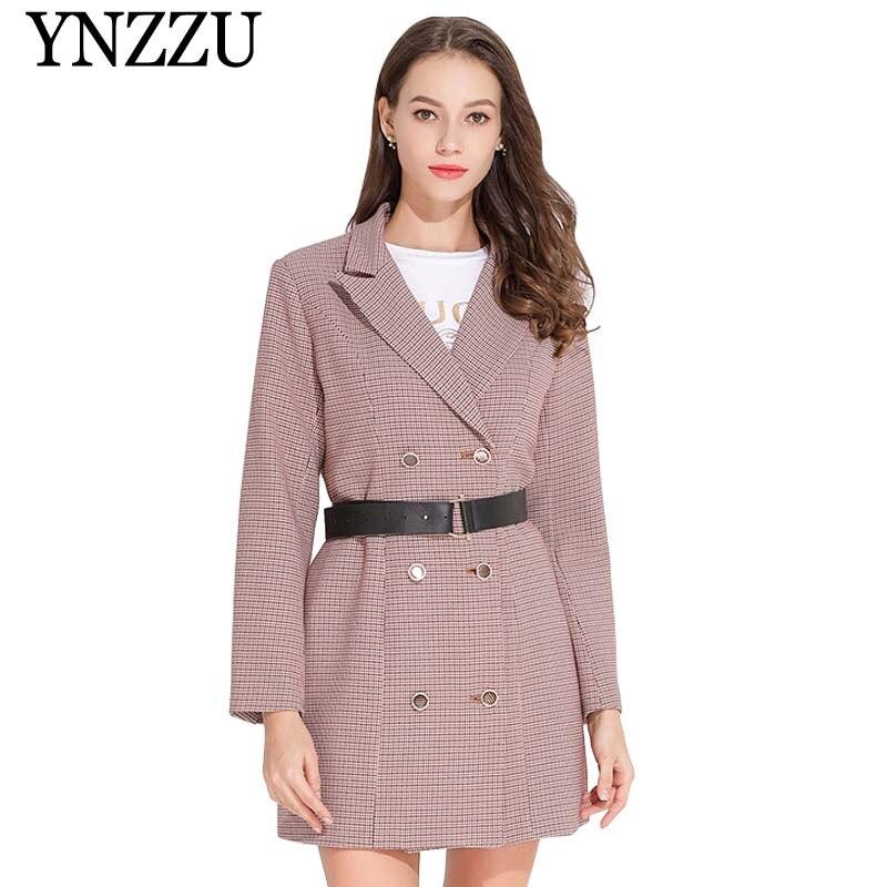 Brand 2019 Spring Elegant Blazer Dress Women Plaid Double Breasted Long Sleeve Buttons OL Dresses Female