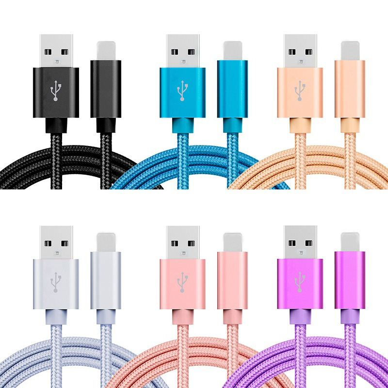 5V 2.4A USB2.0 IOS 8pin Nylon Charging Cable For IPhone 5 6s 7Plus 8 X Ipad Mini Charger Cable