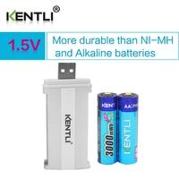 2pcs KENTLI 1 5v 3000mWh Li Polymer Li Ion Lithium Rechargeable AA Battery Batterie 2slots