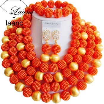 Gorgeous Nigerian African Wedding Beads Jewelry Set Orange and Gold Findings Simulated Pearl ABF050