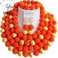 Gorgeous beads boda africana de nigeria joyería conjunto orange y hallazgos de oro perla simulada abf050