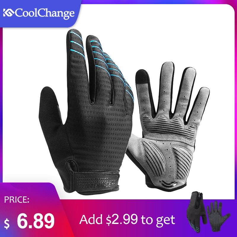 CoolChange Radfahren Handschuhe Voll Finger Sport Stoßfest MTB Bike Touchscreen Handschuhe Mann Frau Fahrrad Schwamm Lange Finger Handschuh