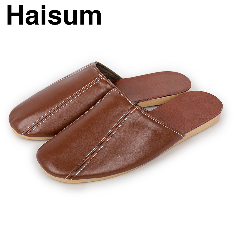 75419a2ac5 Men's Slippers Spring And Summer Genuine Leather Home Indoor Slip Non slip  Slippers 2018 New Hot S5 -in Slippers from Shoes on Aliexpress.com | ...