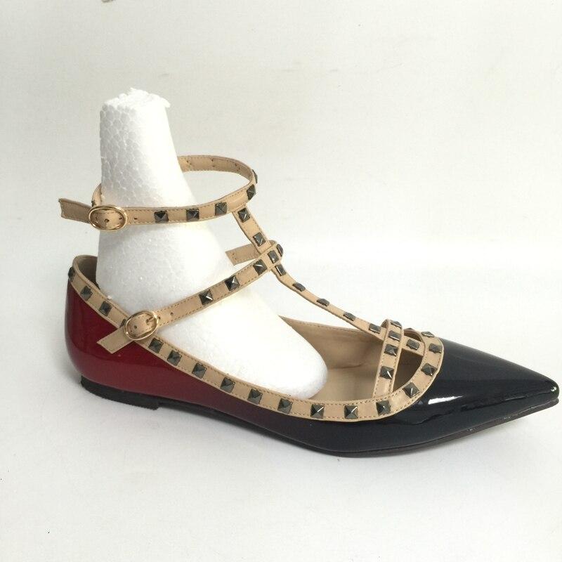 Flat Low Heel Pointed Toe Women Flats Shoes of Gradient Color Black Red Shoes Women Flat Heel Shoes Plus Size 15 недорго, оригинальная цена