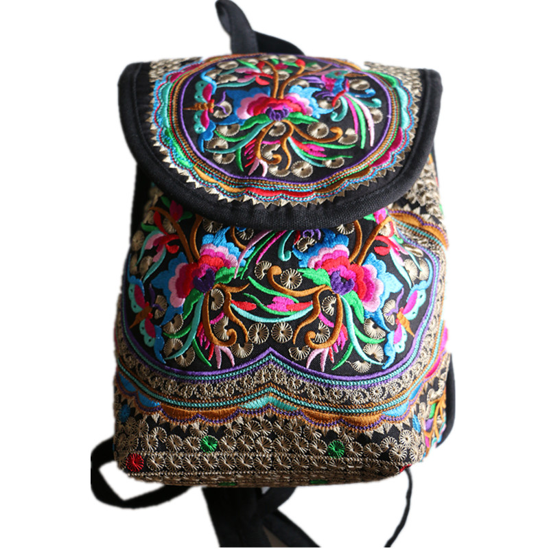 Aliexpress Buy Chinese National Floral Embroidered Ethnic Trend Cute Canvas Backpack Girls Vintage Schoolbag Softback With Hasp And Beads From