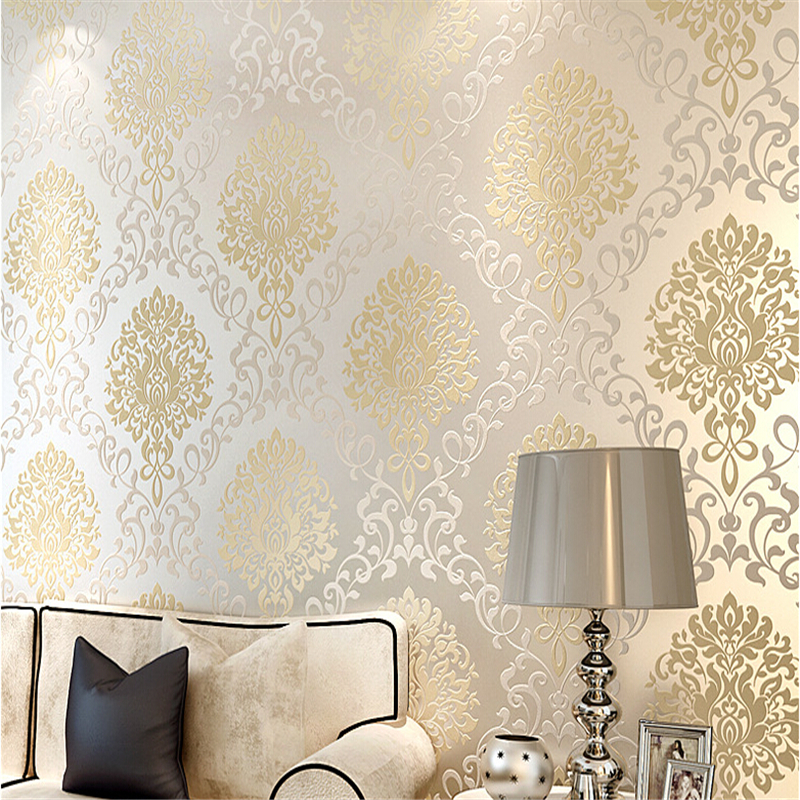 beibehang PVC wallpaper for living room damascus classic wall paper home decor background wall damask wallpaper roll plus pearl beaded bell sleeve blouse