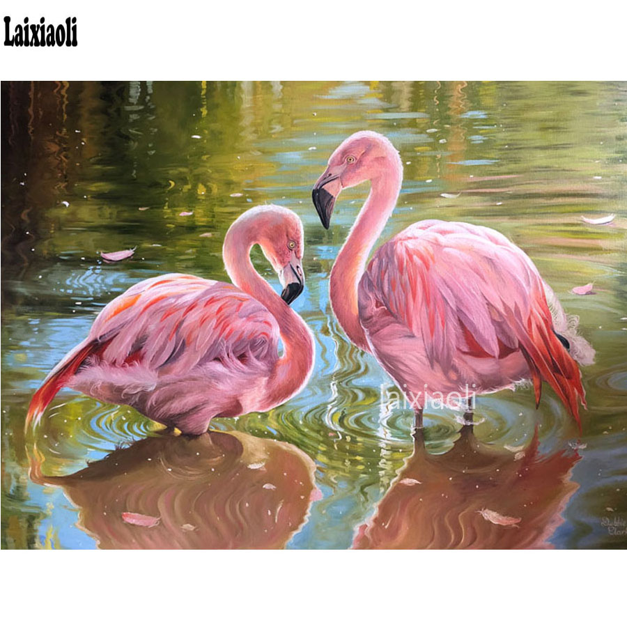 Needle Arts & Crafts Flamingo Diamond Painting 5d Diy Painting Diamonds Red Bird On Lake Almaznaya Mosaic Rhinestone Painting Needlework Decorative Home & Garden