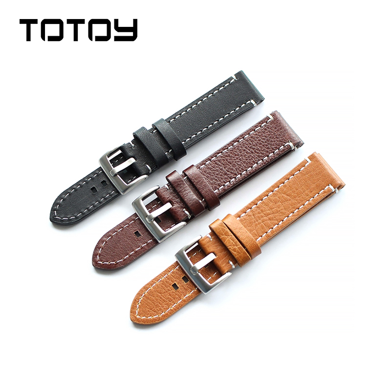 Handmade Men's Leather Strap For Brei ,18mm / 19mm / 20mm / 21mm / 22mm Black Watchband,Watch Accessories